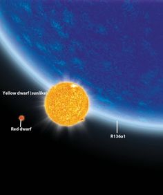 R136a1, a blue star, is 265 times as massive as the sun and about 10 million times as luminous.