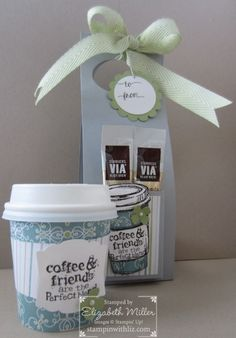 I am having fun again with the mini coffee cups. This is a single serve holder and it would look great as a door hanger too!  If you would like to purchase the coffee cups, go to The WEBstaurant …