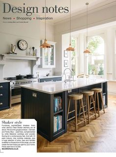 The February 2018 issue of Kitchens, Bedrooms and Bathrooms features The Crystal Palace Shaker Kitchen! Open Plan Kitchen, New Kitchen, Kitchen Dining, Kitchen Decor, Kitchen Island, Kitchen Cabinets, Kitchen Carts, Family Kitchen, Rustic Kitchen