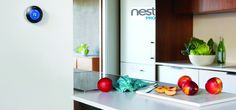The Nest Smart Thermostat in Kitchen & other Smart Home Technologies - Home Technology Ideas Nest Smart Thermostat, Thermostat Cover, Diy Home Automation, Smart Home Technology, Green Technology, White Countertops, Home Gadgets, Tech Gadgets, Saving Money