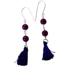 Silvesto India Purple Quartz Gemstone 925 Sterling Silver Tassel Earring PG-18085   https://www.amazon.co.uk/dp/B01E8OTHW0