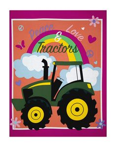 "John Deere Pink Peace, Love & Tractors 36"" Panel Multi from @fabricdotcom From Springs Creative, this cotton print panel features a colorful rainbow and John Deere tractor. It measures approximately 44"" x 36"" and is perfect for quilting, apparel and crafts. Colors include black, white, sky blue, dark teal, green, light lime green, yellow, light peach, lavender, pink and magenta."