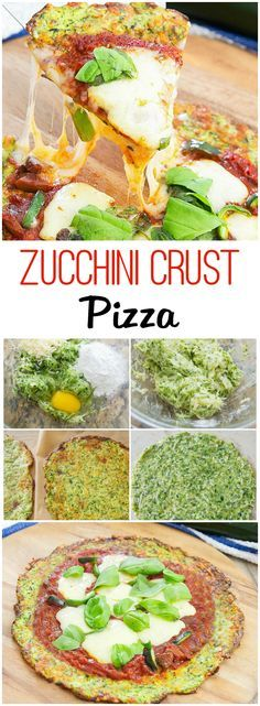 Low carb and delicious! This low carb zucchini crust pizza is crispy, delicious and a great way to add more vegetables to your diet. Veggie Recipes, Low Carb Recipes, Vegetarian Recipes, Cooking Recipes, Healthy Recipes, Vegetarian Pizza, Tapas Recipes, Snacks Recipes, Recipes Dinner