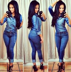 Denim on denim jeans Looks Chic, Looks Style, Mode Outfits, Fashion Outfits, Womens Fashion, Fashion Killa, Look Fashion, Denim Fashion, Casual Wear