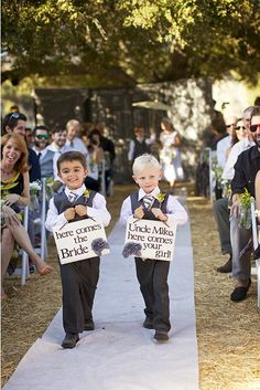 "Omg this is so cute I could cry!   ""Here comes the Bride,"" and ""Uncle Mike, Here comes your Girl."""