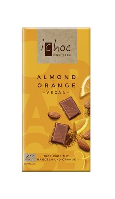 Almond Orange - vegan organic chocolate with almonds and fruity orange bits.  #veganchocolate #ichoc