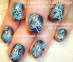 Nail-art by Robin Moses - Elegant blue and silver tutorial