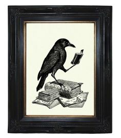 Halloween Raven Crow reading a Book  Victorian by emporiumshop, $19.00