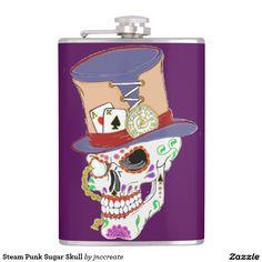 Steam Punk Sugar Skull Flask