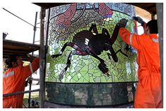 A Natural History Museum in Mosaic Rises in Chile: Isidora Paz López - shows them at work installing the mosaics, awesome Lopez Show, Chili, Art Public, Mosaic Animals, American Animals, Natural History Museum, Mosaic Projects, Concrete Jungle, Contemporary Ceramics