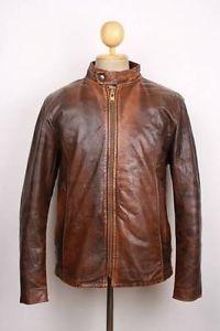 Vintage 70s LESCO Leather Motorcycle Jacket CAFE RACER Large FLEECE LINING
