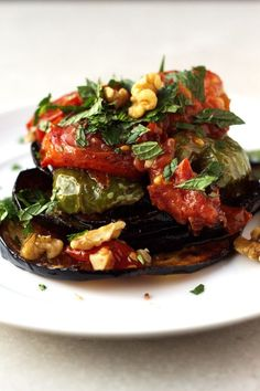 Fried Eggplant Recipe with Green Peppers and Tomato- Turkish Inspiration - http://www.themediterraneandish.com/fried-eggplant-recipe-with-green-peppers-tomato/