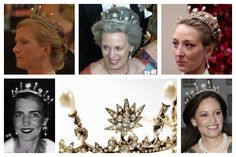 The Queen Sofia Star and Pearl Tiara | A Tiara a Day:  Originally owned by Queen Sofia of Sweden, it was eventually left to Princess Ingrid, who married into the Danish royal family and bequeathed to her daughter Princess Benedikte.  Photos (clockwise from top left): Princess Nathalie of Sayn-Wittgenstein-Berleburg; Princess Benedikte; Princess Alexandra of Sayn-Wittgenstein-Berleburg, Countess of Pfeil and Klein-Ellguth; Carina Axelsson; tiara detail; Queen Ingrid of Denmark.