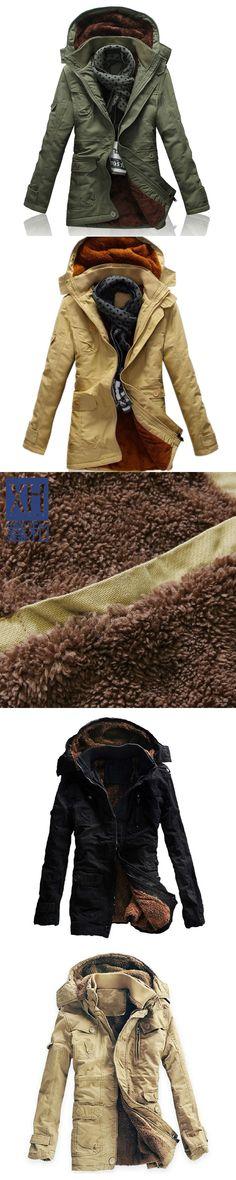 Size M-5XL New Men's Thick Long Winter Snow Warm Faux Fur Lining 100% Washed Cotton Jacket Coat Parkas For Men Winter,3 Colors