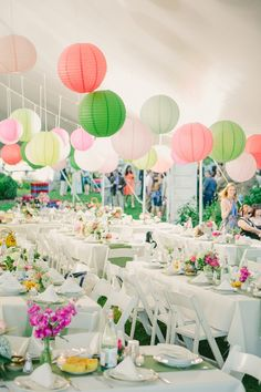 To create a summers garden wedding decroate your white wedding marquee with our green and pink paper hanging lanterns - mix the shades and sizes to refelect the variety in nature.