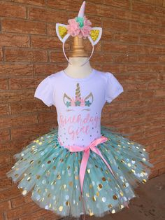 birthday girl unicorn, girl's birthday shirt, mint and pink and gold birthday shirt, birthday outfit for girls, unicorn party, fairy tale
