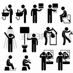 L'igiene lavaggio delle mani Viso Doccia Vasca da bagno Toilette Lavarsi i denti Stick Figure Pittogramma Icona Archivio Fotografico - 18809...
