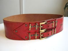 1940s 1950s red leather corset wide belt double buckles arrows New Look 1940s distressed leather rockabilly pinup