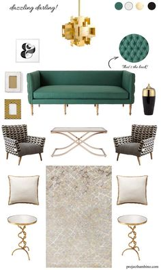 This living room design is all about elegance. Emerald takes the room to a high level of sophistication. Living room decor ideas. Resources at projectbambino.com