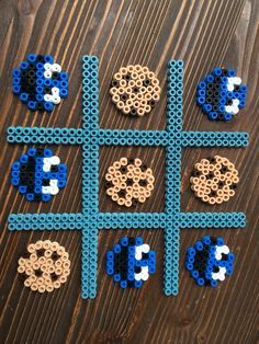 Cookie Monster Sesame Street tic tac toe game hama beads