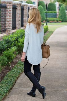 Fall street style. Cream turtleneck with black over the knee boots.  Www.hauteandhumid.com