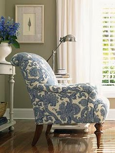 Those front legs... Lexington blue paisley chair