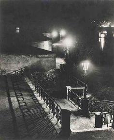 Prague Night view of the Vltava riverbank via Josef Sudek Prague, Nocturne, Josef Sudek, Famous Photographers, Commercial Photography, Shades Of Black, Taking Pictures, Black And White Photography, Fine Art Photography