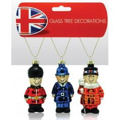 British Character Glass Christmas Decorations