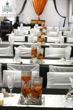 Orange Black And White Wedding Centerpieces Reception Decor