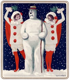 From the cover of the December 3, 1913 edition of Puck. An anxious snowman stands between two women wearing Christmas-colored costumes and holding mistletoe over their heads. Illustrated by William El