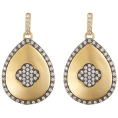 Freida Rothman Two-Tone Large Teardrop Pave CZ Clover Drop Earrings ($149) ❤ liked on Polyvore featuring jewelry, earrings, black and gold, clover earrings, cz earrings, black gold earrings, pave drop earrings and cubic zirconia drop earrings