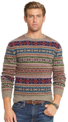 Polo Ralph Lauren Fair Isle Wool Sweater, An essential during the cooler months, this comfortable crewneck sweater is knit from a warm wool blend and features a timeless Fair Isle pattern. Boys Sweaters, Men Sweater, Fair Isle Sweaters, Crewneck Sweaters, Fair Isle Pullover, Fair Isle Knitting, Tommy Hilfiger, Knitwear, Polo Ralph Lauren