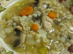 Slow Cooker Chicken Barley Soup. Made this tonight and it was fresh and fabulous ... first time cooking barley and it was a delish alternative to rice or noodles.