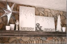 Merry and Bright Christmas art with foil envelope seals ...add Ampersand