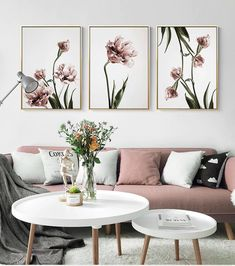 - Wall Art Ideas - Romantic Pink Flowers Canvas Wall Art Please note all of our canvases come rolled and are unframed and unstretched. Minimal Floral Designs Premium Cotton Rolled Canvas Unframed and Unstreched Waterproof Ink High-Resolution Print.