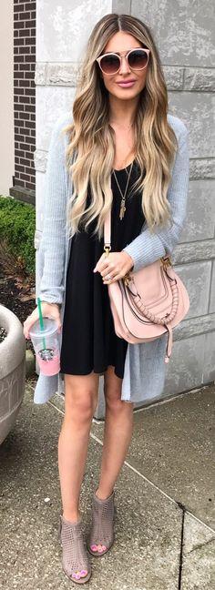 Grey Cardigan & Black Dress & Grey Open Toe Booties