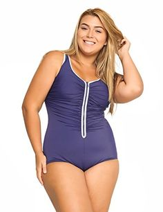 Delimira Womens Builtin Cup Plus Size Swimsuits One Piece Zip Front Bathing Suits Navy US 16W * Details can be found by clicking on the image.