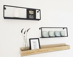 What do you think of our metal Meert shelves and wooden Siem shelve? Lovely styling and picture by @ - madebywoood Home Bedroom, Home Living Room, Black Shelves, Cozy Place, New Room, Decor Interior Design, Interior Inspiration, Decoration, Steel Furniture