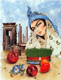 Iranian New Year, Iranian Art, Medusa Drawing, Iran Pictures, Persian Beauties, Persian Motifs, Persian Culture, Silk Painting, Art History