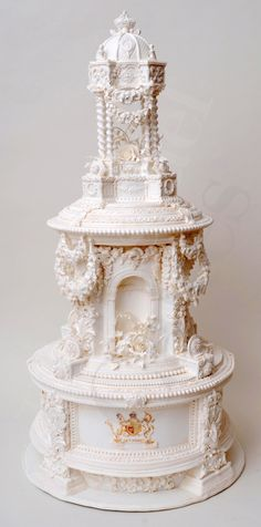 Gorgeous white wedding cake.