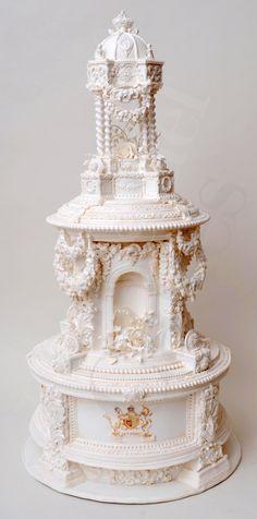 Gorgeous white wedding cake.