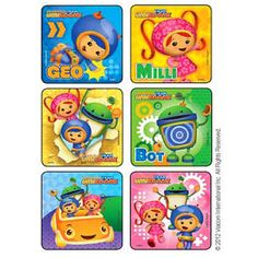 """Are you having a Team Umizoomi party or do you have an Umizoomi project? Each pack contains 90 stickers. Measures 2.5"""" each. There are 6 different scenes. These are great to decorate treat bags, decor"""