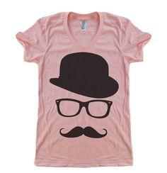 Womens Mustache Hat Wayfarer T Shirt - American Apparel Tshirt