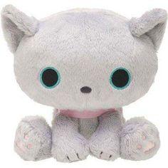 kawaii grey Kutusita Nyanko cat with collar plush toy