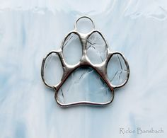 animal paw print in glass