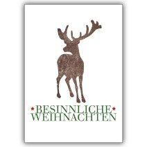 Wünschen Sie besinnliche Weihnachten mit Hirsch – klassische Weihnachtskarte