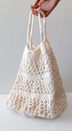 Beautiful! Crochet Market Tote Bag Organic Cotton Fancy