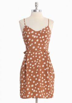 light brown polka dot dress $42.99