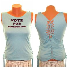 Vote // Upcycled Altered T-shirt // Cut Up Shirt // Refashioned Clothing // Cut Tank Top // Election Shirt // Size Small