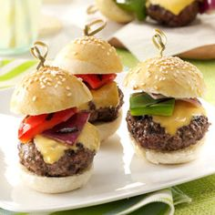 20 Slider Recipes                     -                                                   These mini burgers and sandwiches are packed with big flavor. Sliders—including our favorite beef, turkey, and chicken slider recipes—make the perfect party appetizers. You can even double them up to make a main dish!